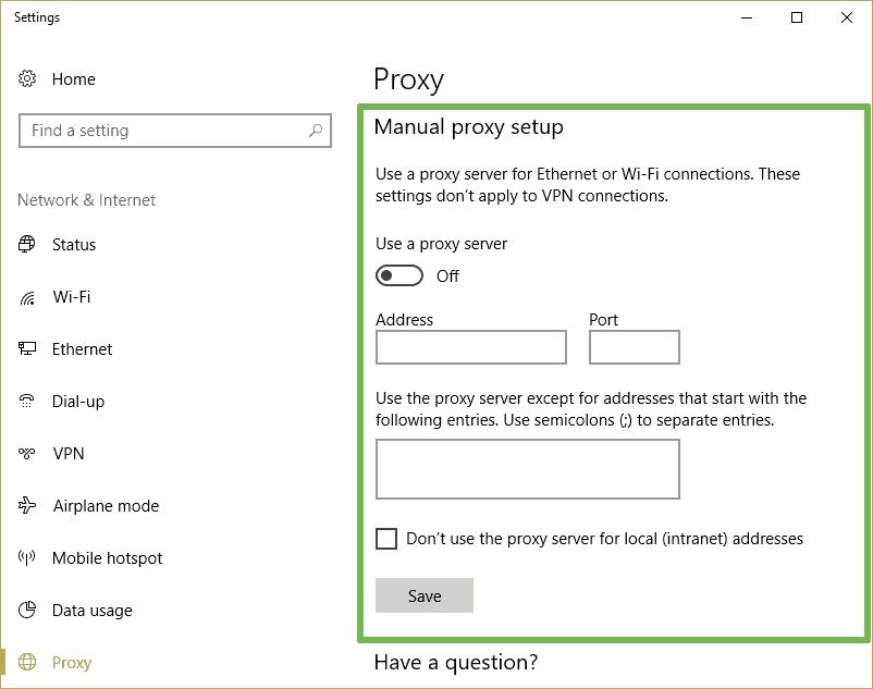 How to use SOCKS proxy on Edge - Manual proxy setup