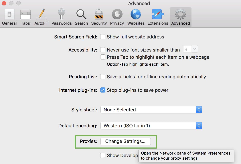 How to use socks proxy with Safari - Advanced tab