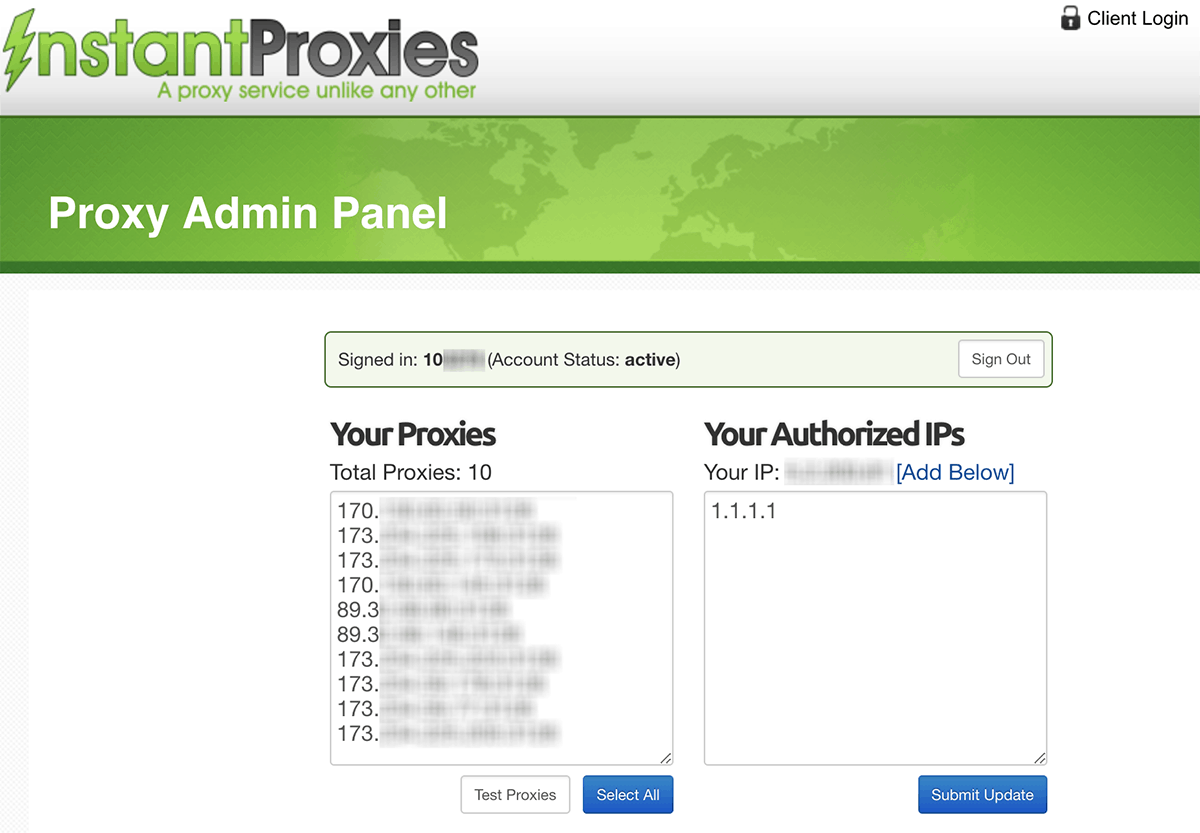 Image showing the Instant Proxies  Control Panel > Proxy Admin (Instant Proxies review)