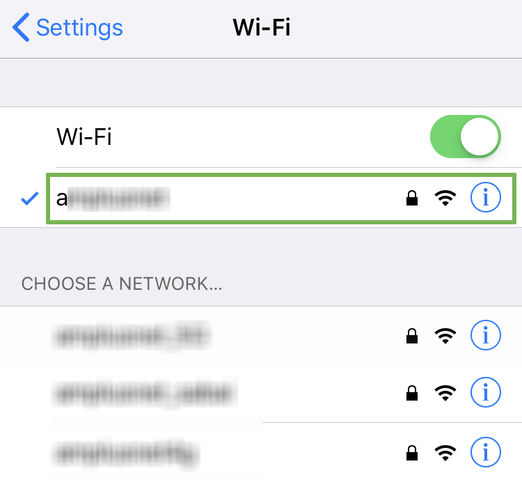 How to configure the iOS proxy settings - Select Wi-Fi network