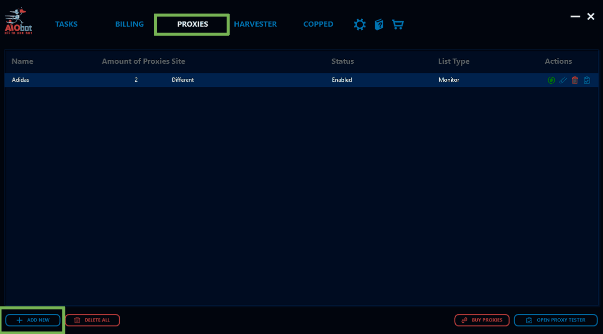 Screenshot showing the AIO Bot - Proxies - Add New