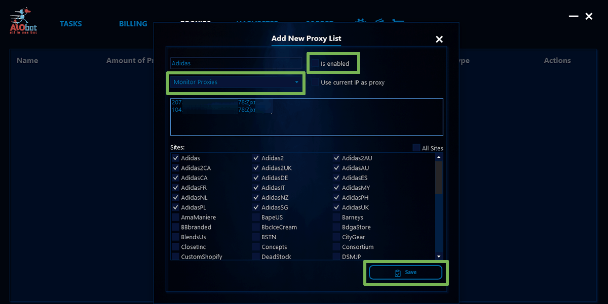Screenshot of the AIO Bot - Add New Proxy List