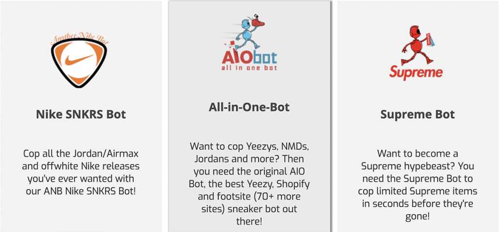Image showing the Another Nike Bot, Nike SNKRS Bot and Supreme Bot packages.